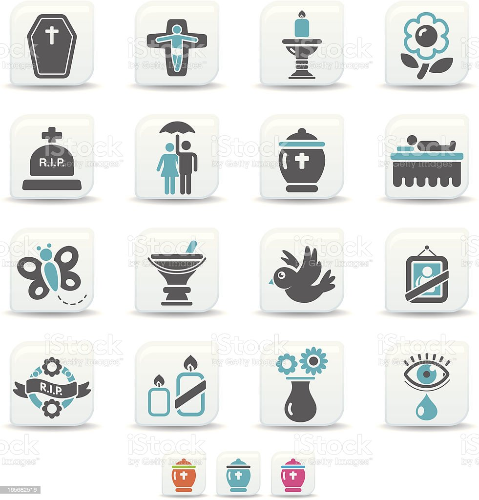 funeral icons | simicoso collection vector art illustration