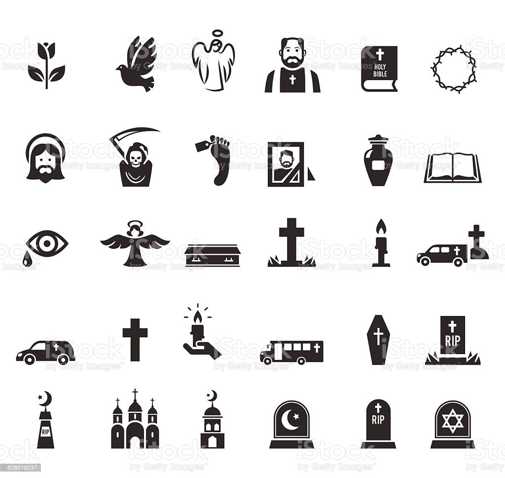 Funeral icons vector art illustration