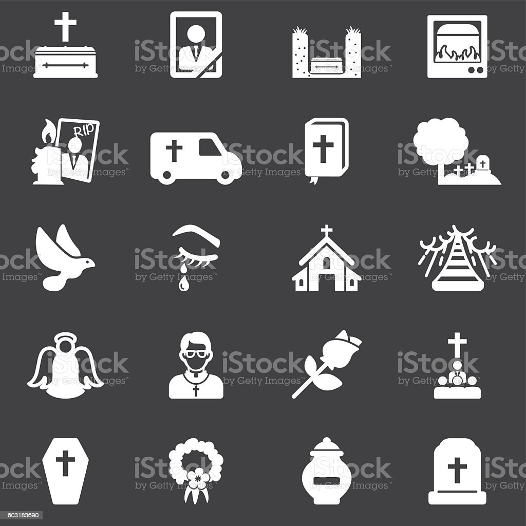 Funeral White Silhouette Icons | EPS10 vector art illustration