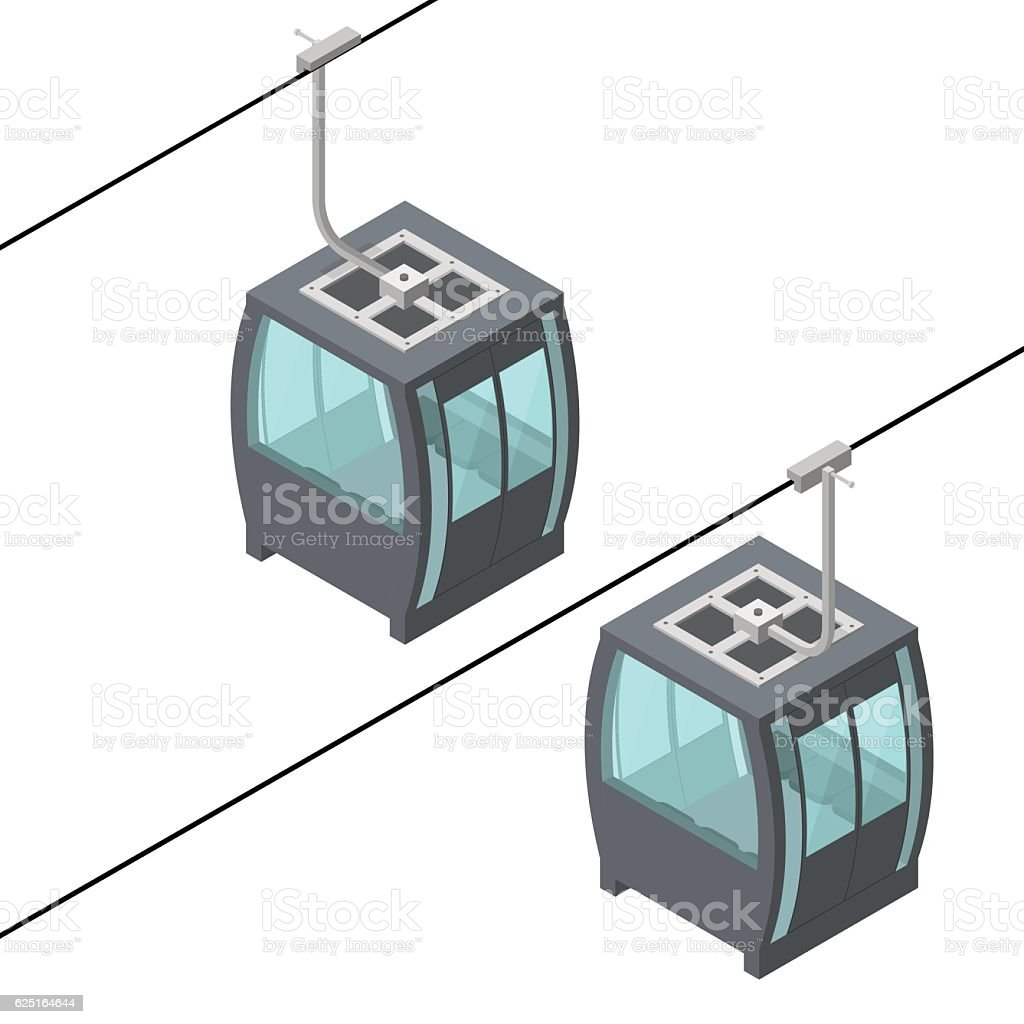 Funicular Cable Railway Isometric View. Vector vector art illustration
