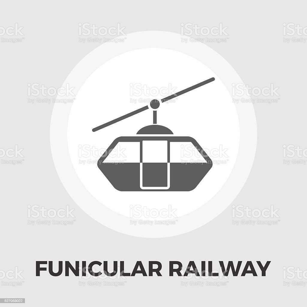 Funicular railway flat icon vector art illustration