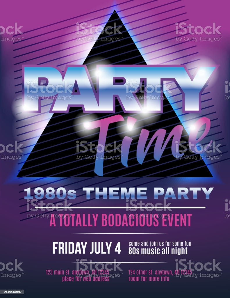 Funky 1980s theme party flyer template invitation vector art illustration