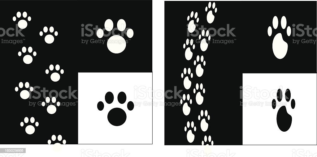Funky 4-Toed paw prints & Tracks royalty-free stock vector art