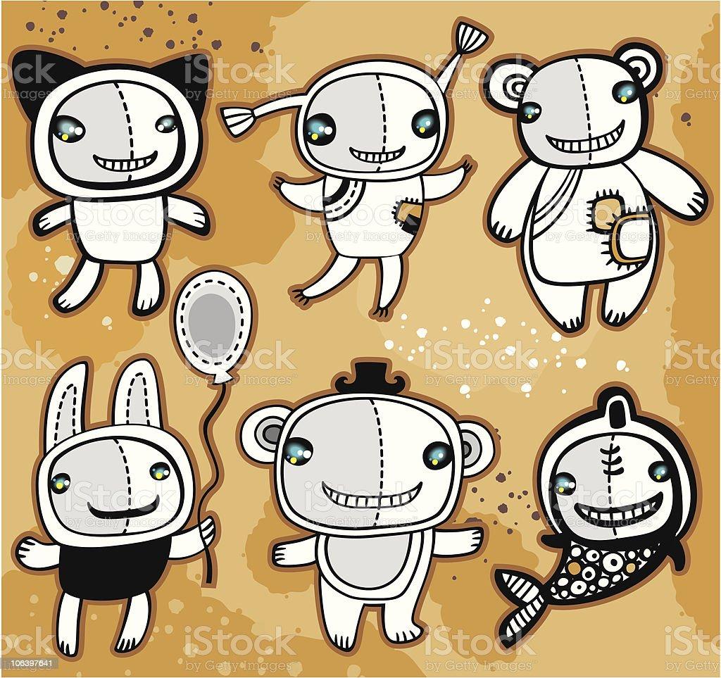 Funky animals royalty-free stock vector art