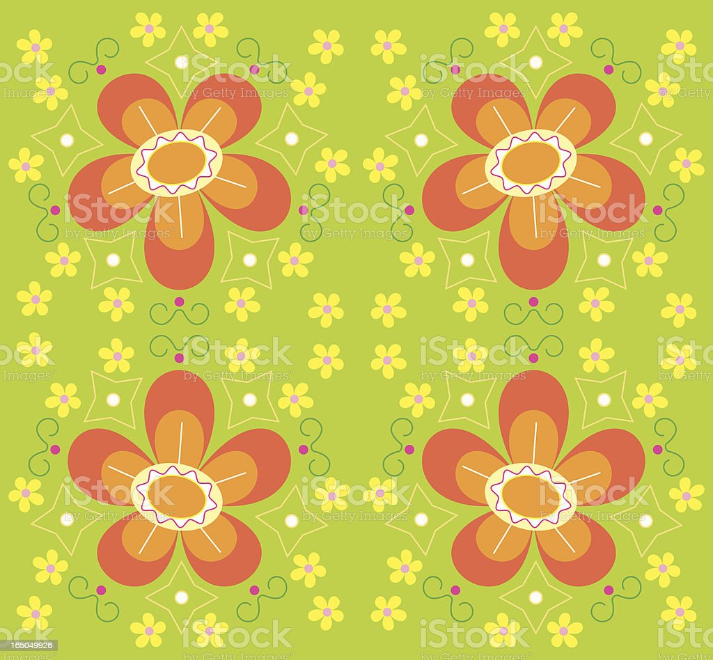 Funky Bright Floral Seamlessly Repeating Pattern royalty-free stock vector art