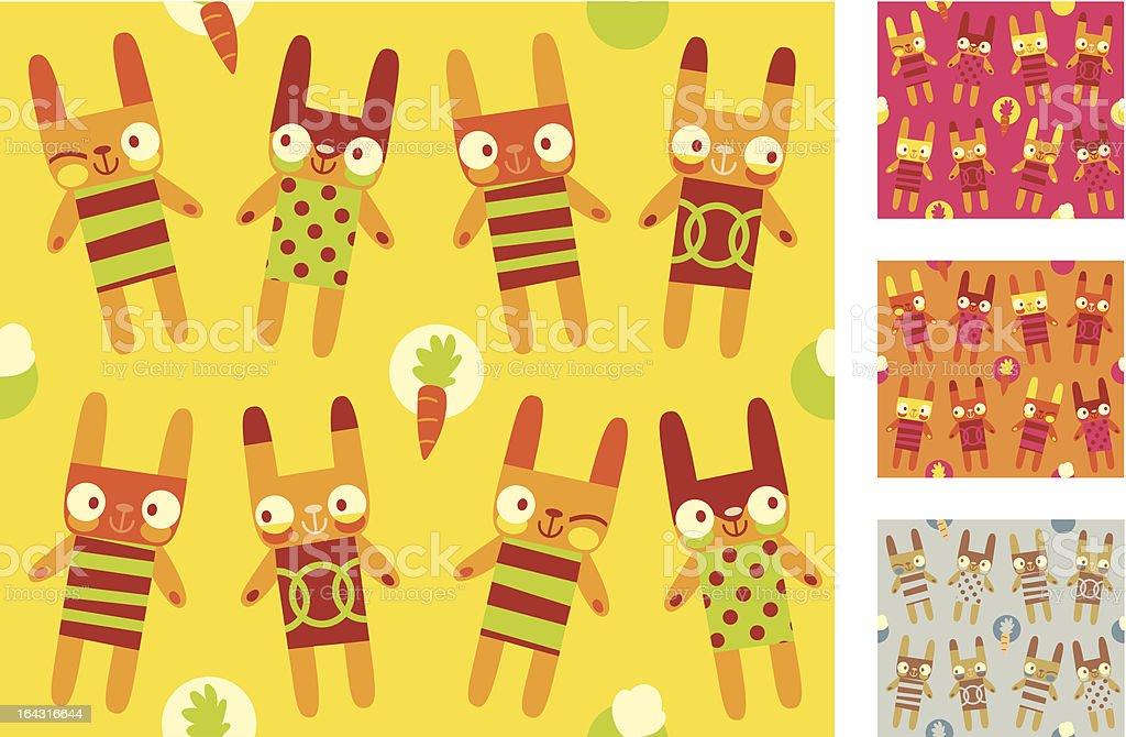Funky Bunny Rabbits (Seamless Pattern) royalty-free stock vector art