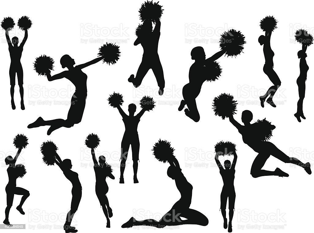 funky cheerleader silhouette vector art illustration