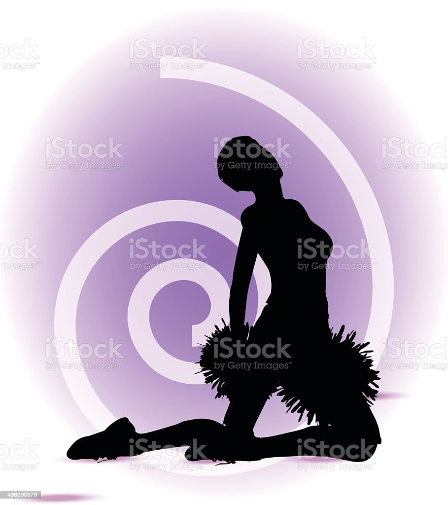 funky cheerleader silhouette royalty-free stock vector art