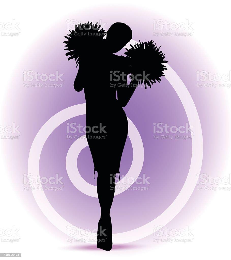 funky cheerleader silhouette royalty-free stock vector art