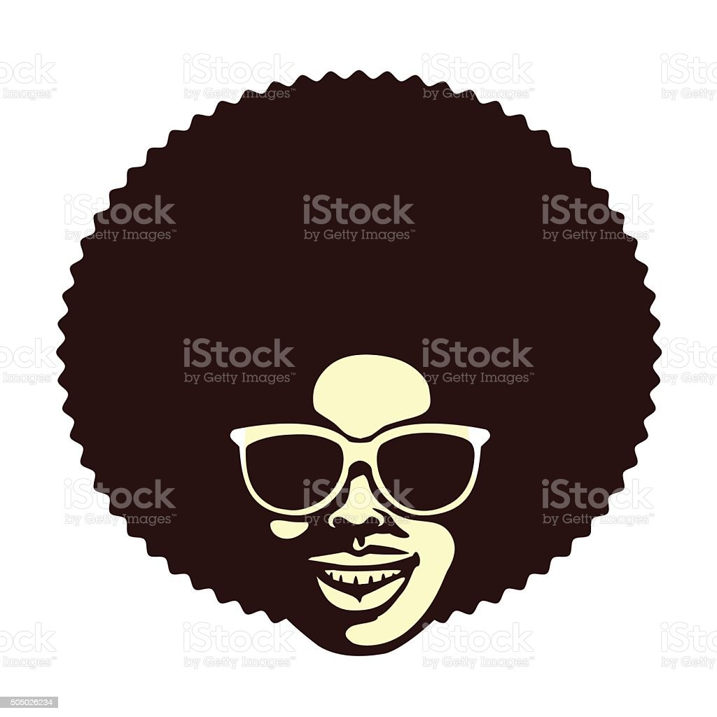 Funky cool man with afro hair and sunglusses vector illustration vector art illustration