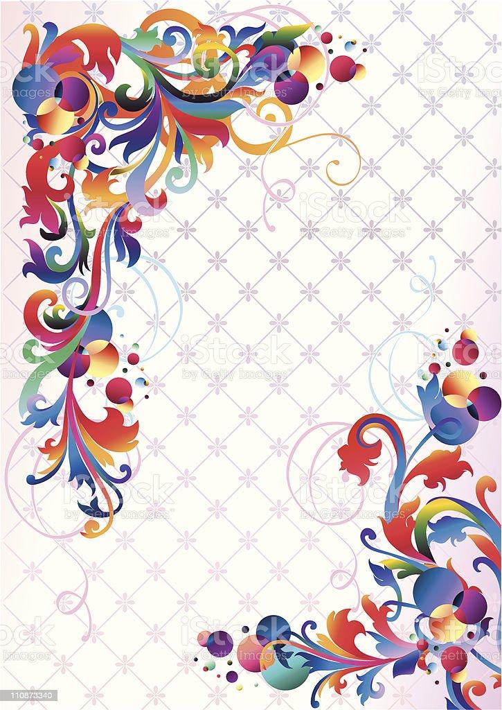 Funky decorative corners vector art illustration