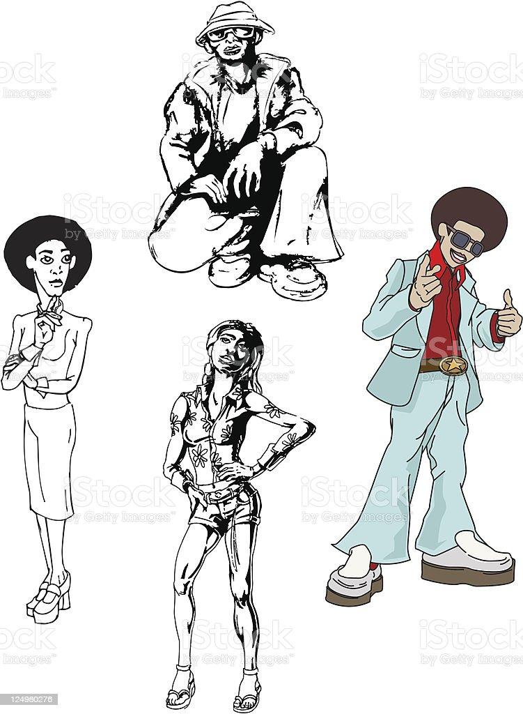 Funky disco people vector art illustration