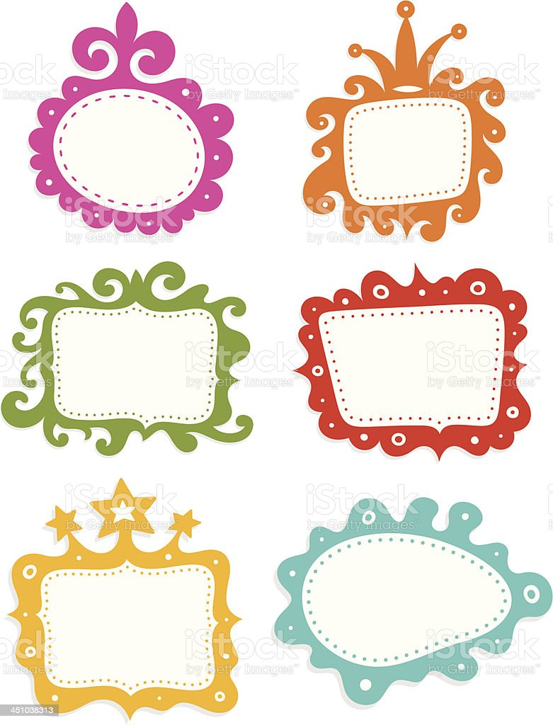 Funky frames set vector art illustration