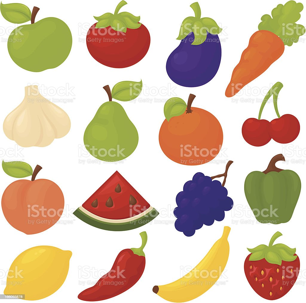 Funky Fruit and Veg royalty-free stock vector art