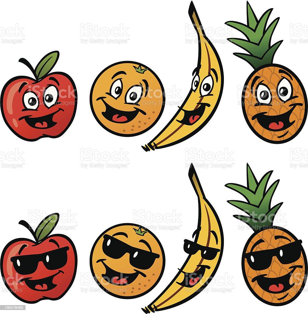 Funky Fruit vector art illustration