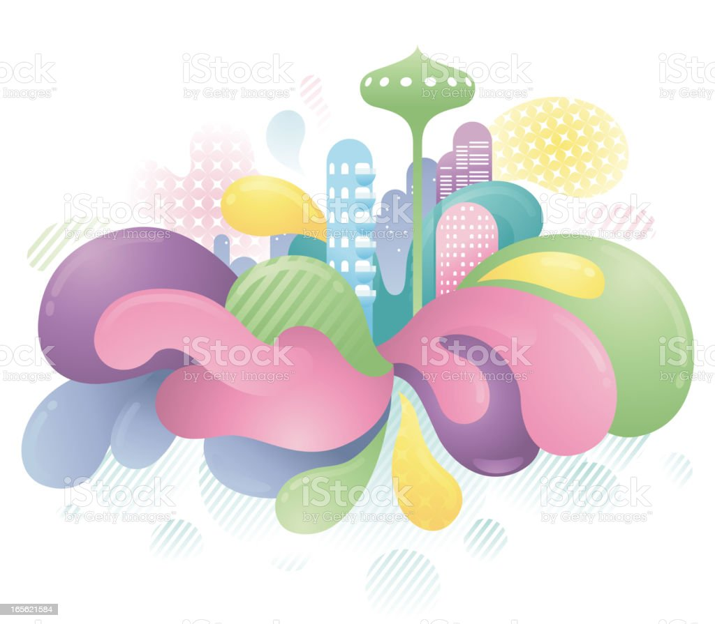 Funky Futuristic City royalty-free stock vector art