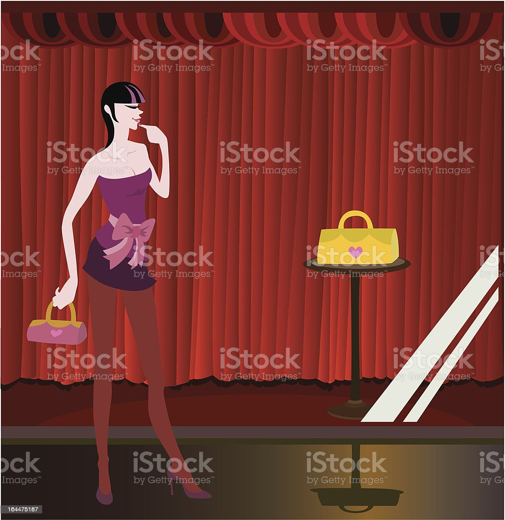 funky girl go night shopping royalty-free stock vector art