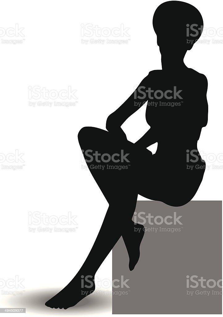 Funky Girl Silhouette royalty-free stock vector art