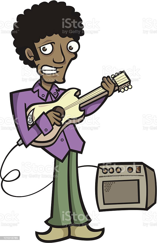 Funky Guitar Player vector art illustration