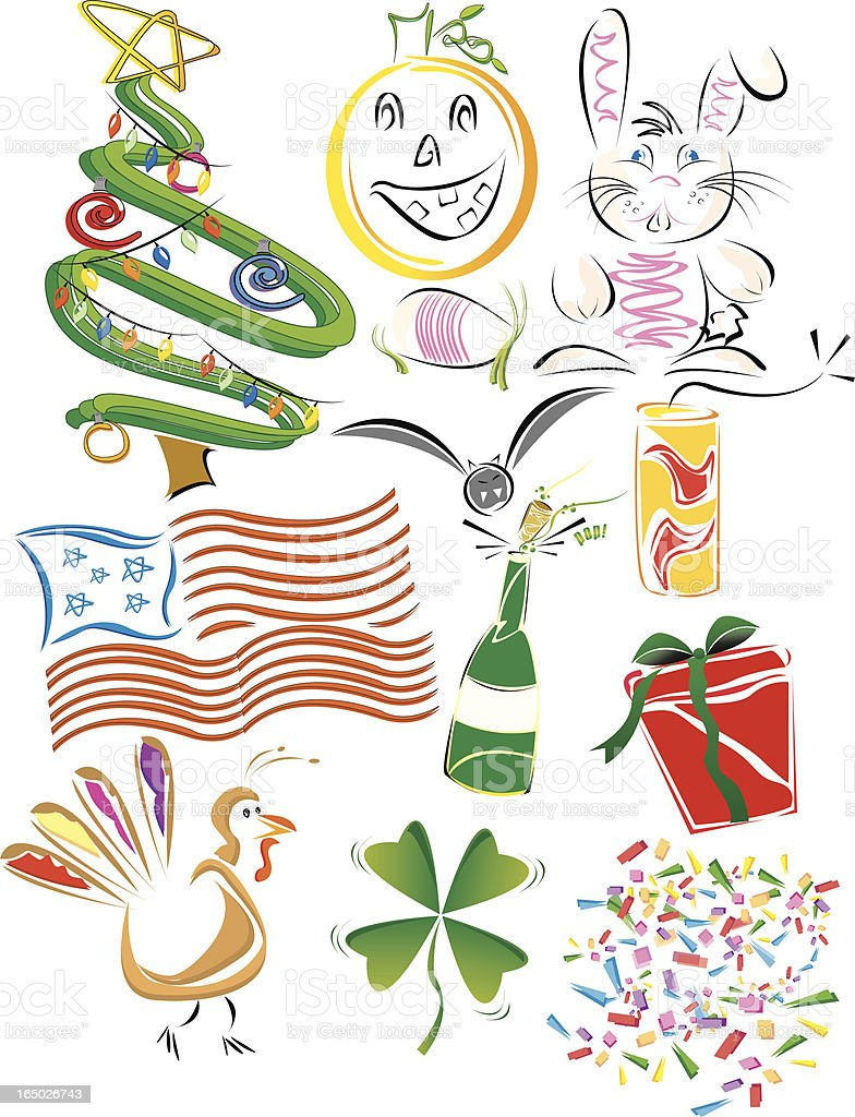 Funky holiday design elements royalty-free stock vector art