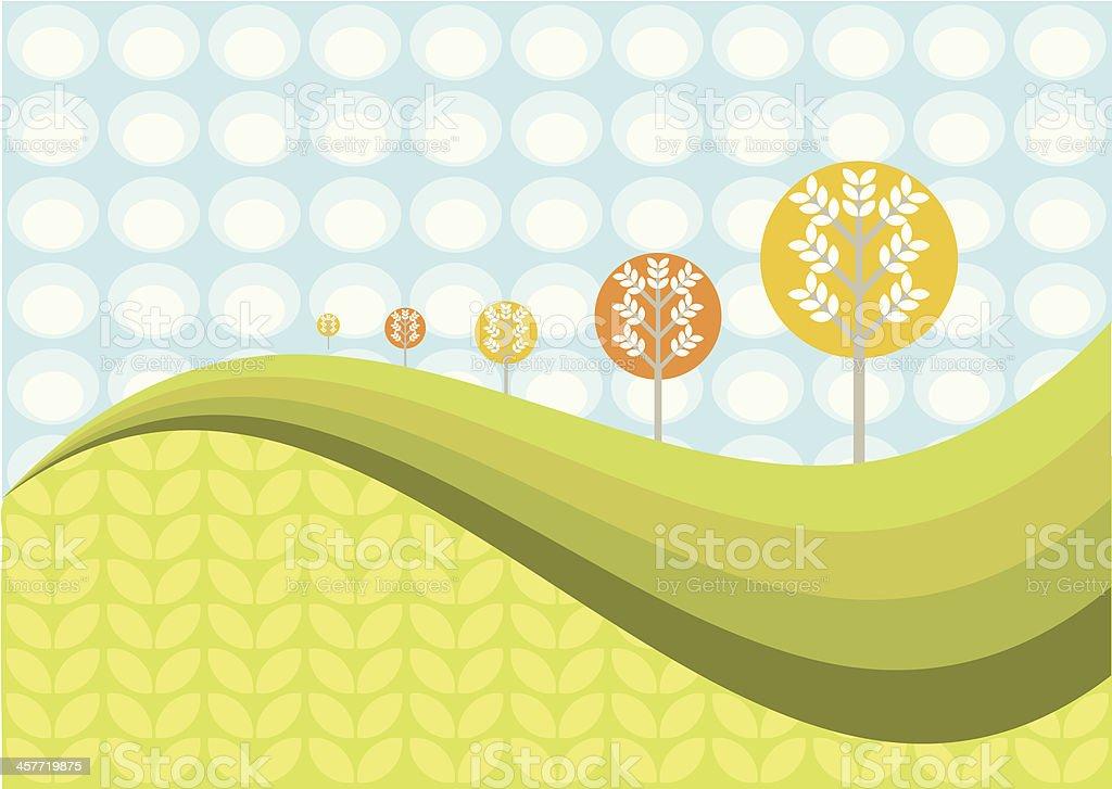 Funky landscape scene vector art illustration