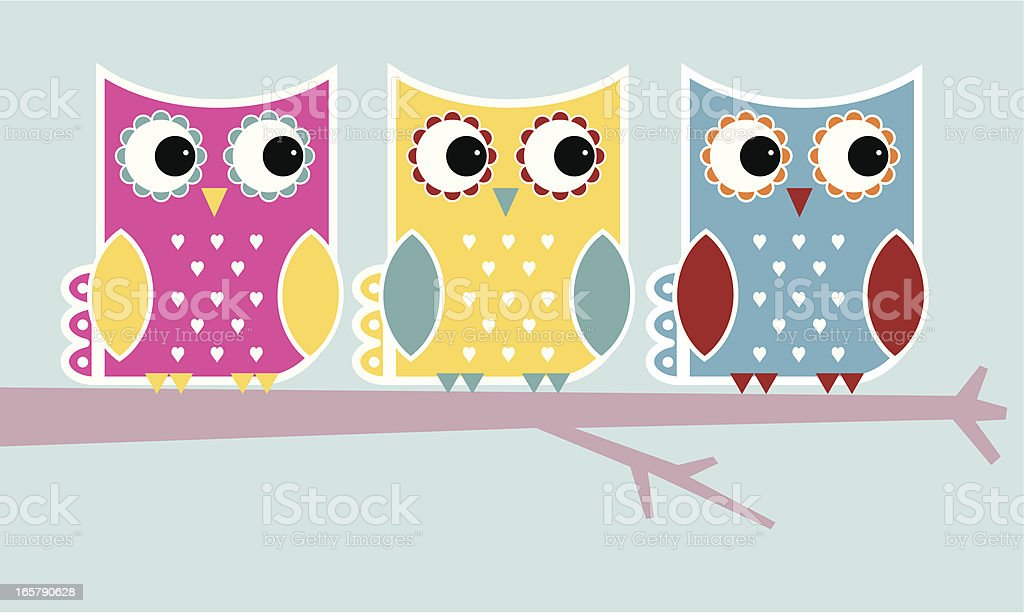 Funky owls royalty-free stock vector art