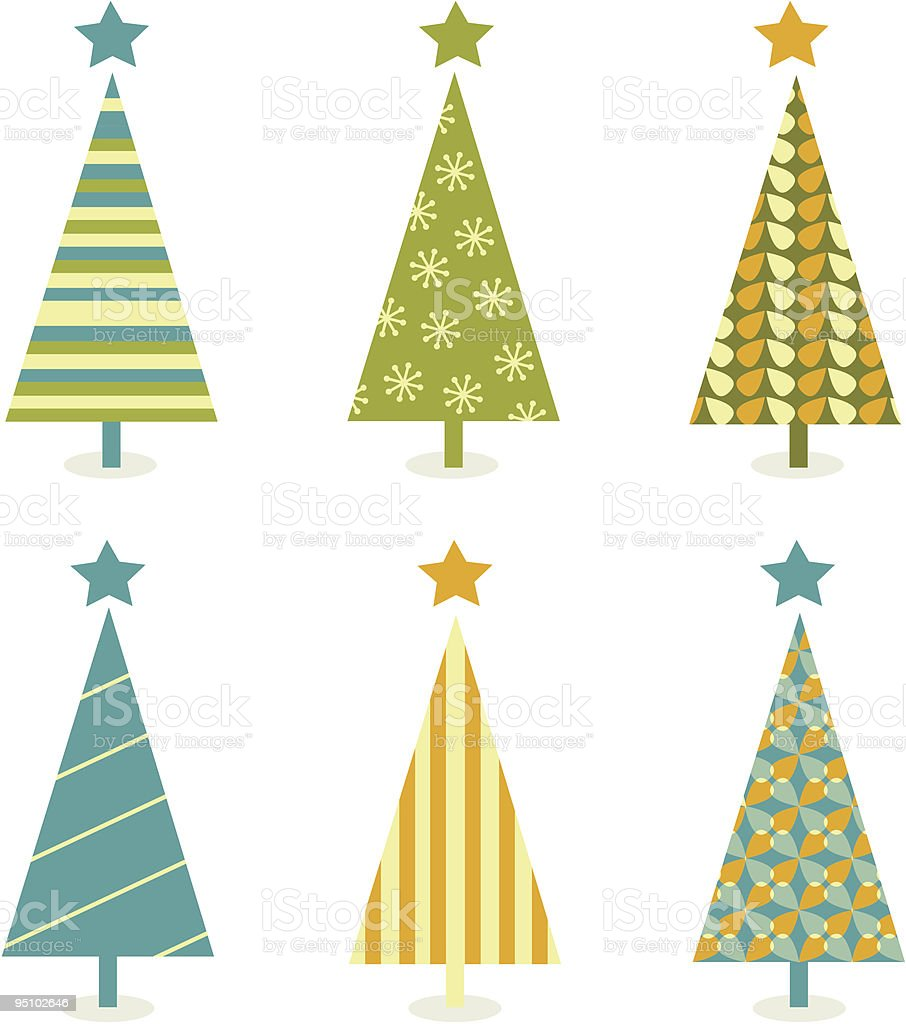 Funky retro christmas tree design royalty-free stock vector art