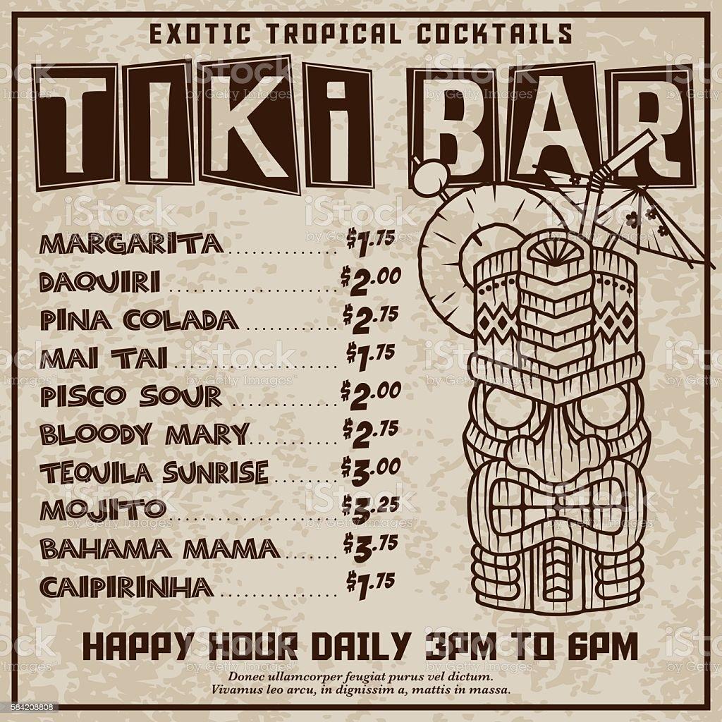 Funky Retro Tiki Bar Advertisement vector art illustration