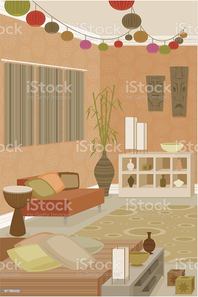Funky Room vector art illustration