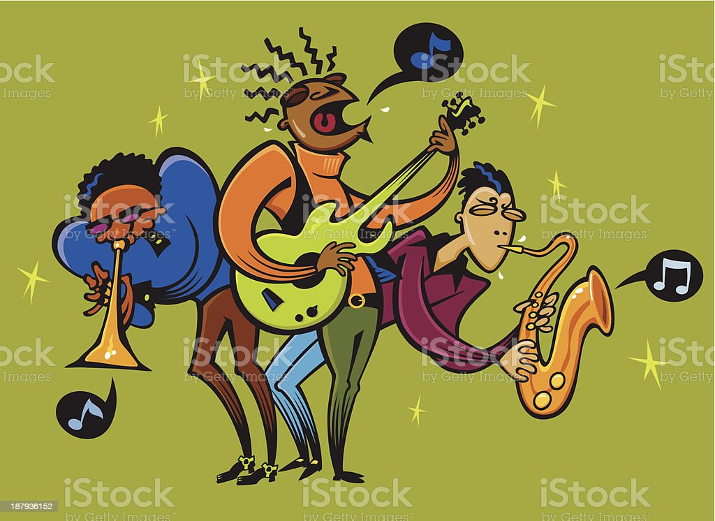 Funky Smooth Music Trio vector art illustration