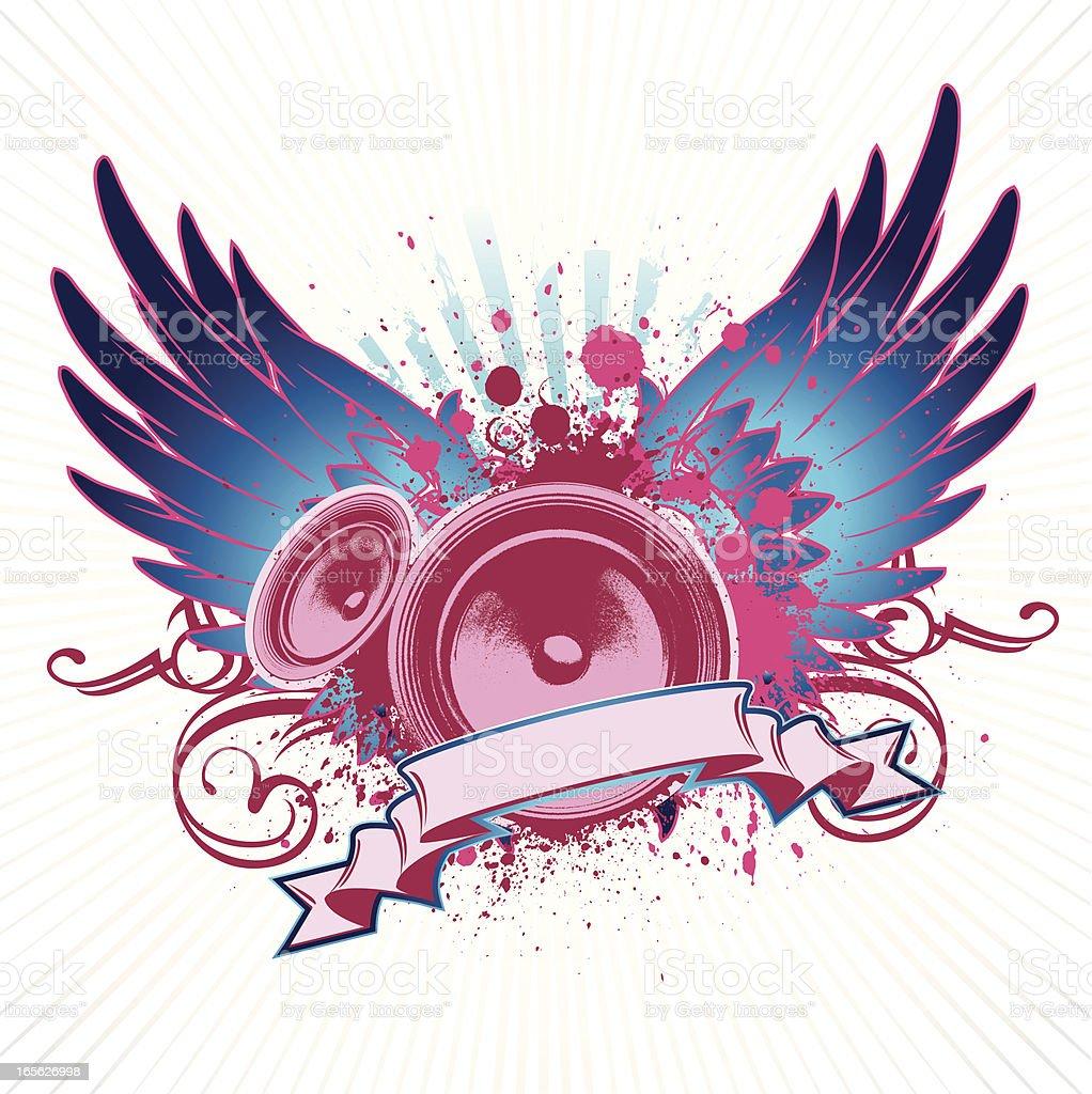 funky speaker wings royalty-free stock vector art