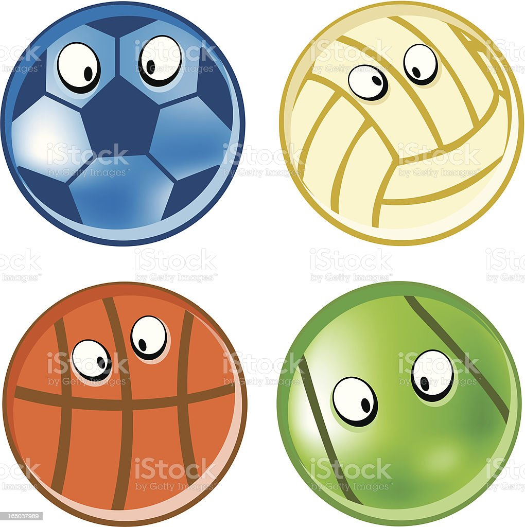Funky Sports Balls royalty-free stock vector art