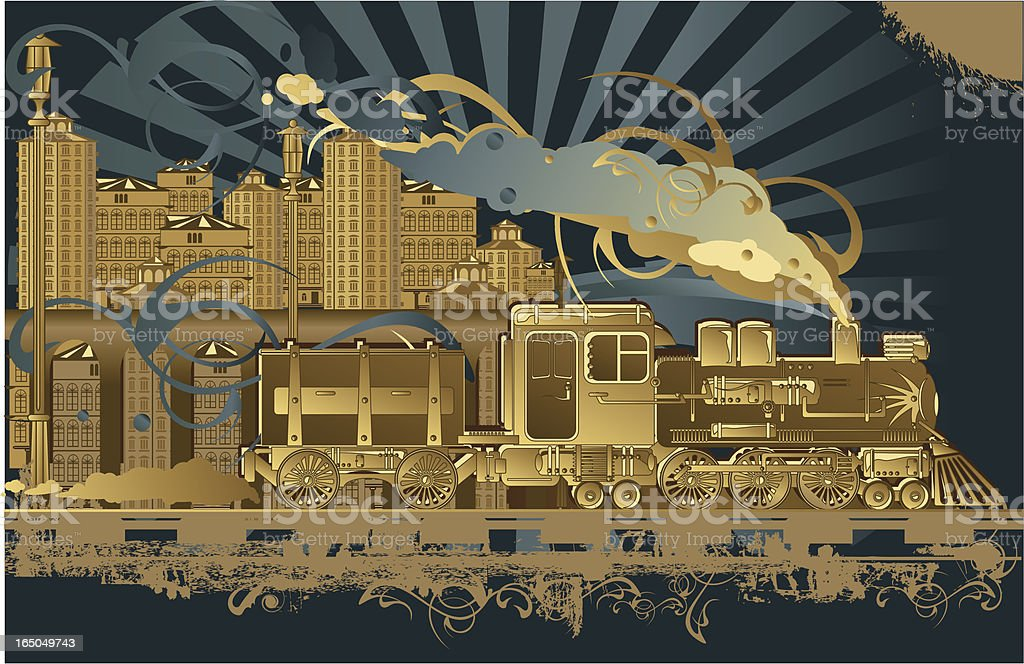 Funky Steam Engine Train in Brown and Blues royalty-free stock vector art