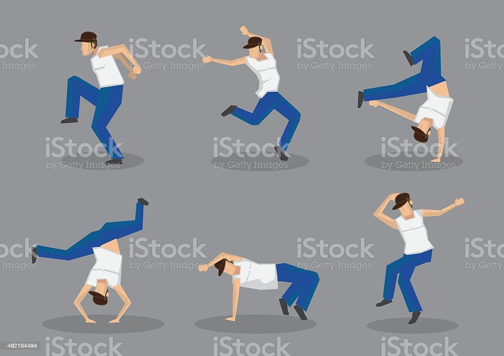 Funky Street Dancers Vector Icon Set vector art illustration