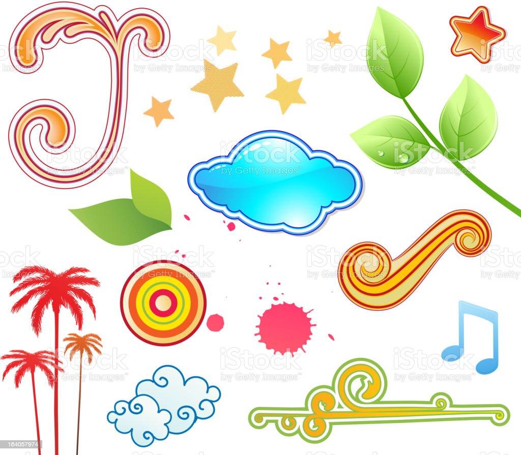 funky summer design elements royalty-free stock vector art