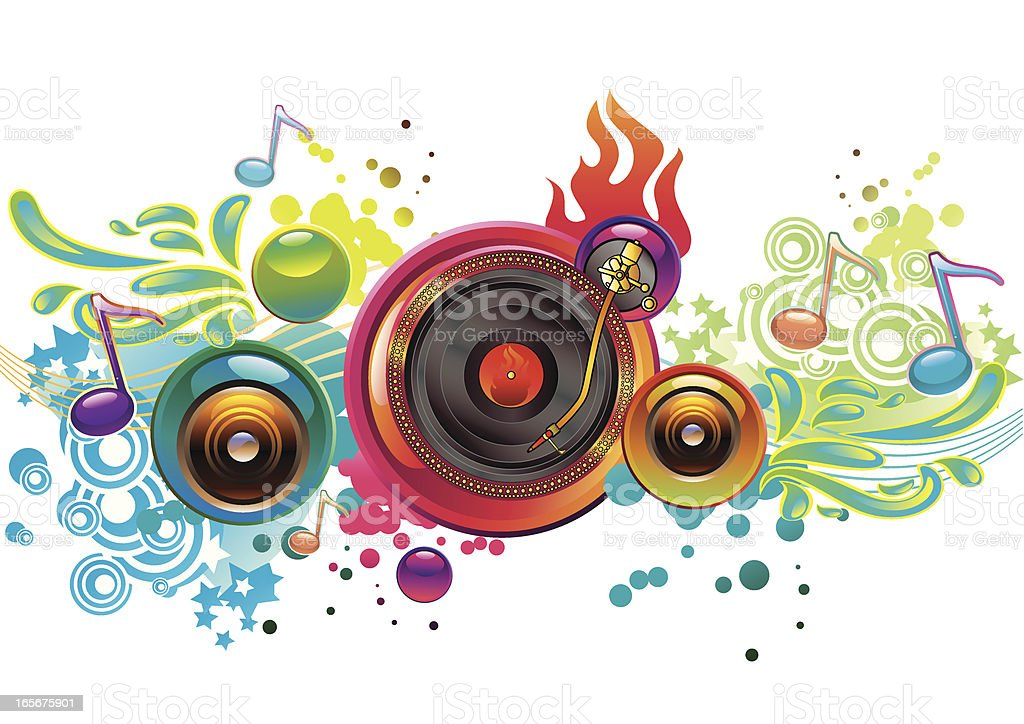 Funky Turntable vector art illustration