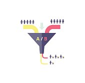 Funnel AB test - vector illustration. Testing in internet marketing