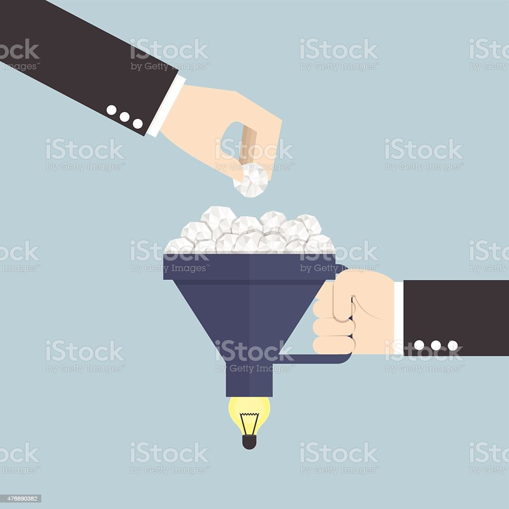 Funnel with crumpled paper and light bulb of idea vector art illustration