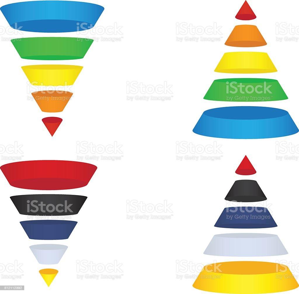 Funnels and Pyramids Set vector art illustration