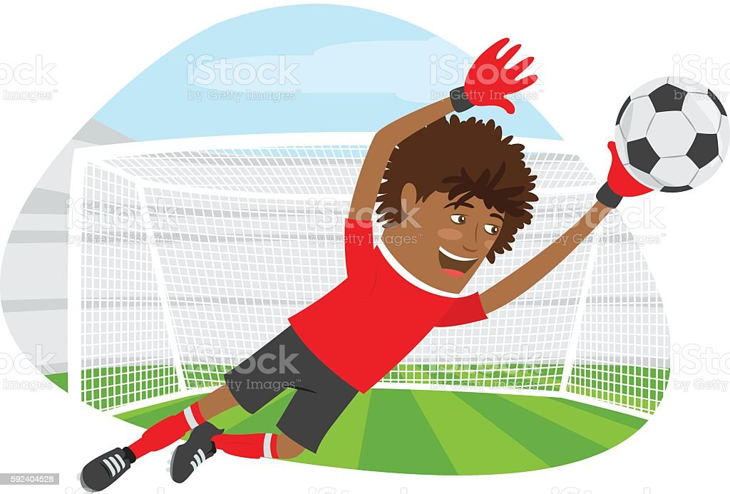 Funny African American soccer football player goalkeeper wearing vector art illustration
