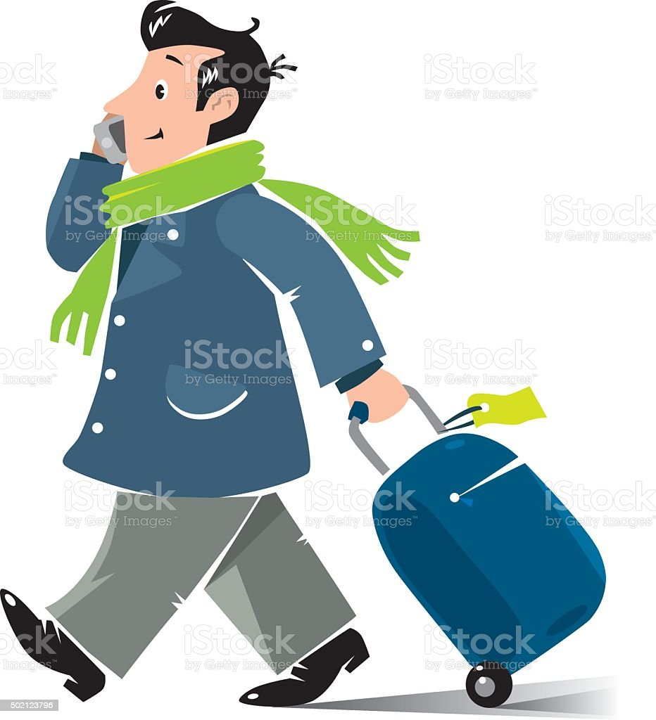 Funny air passenger with suitcase and phone vector art illustration