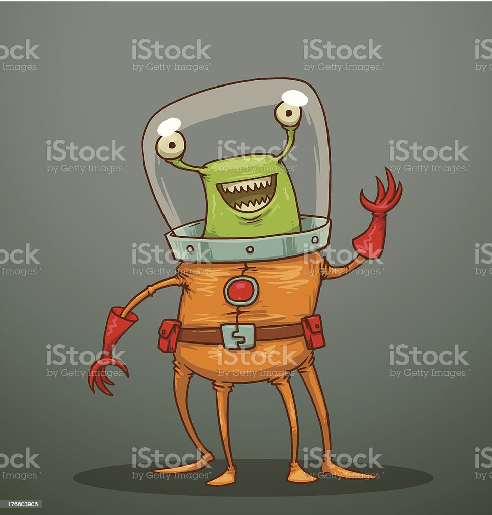 Funny alien with four legs royalty-free stock vector art