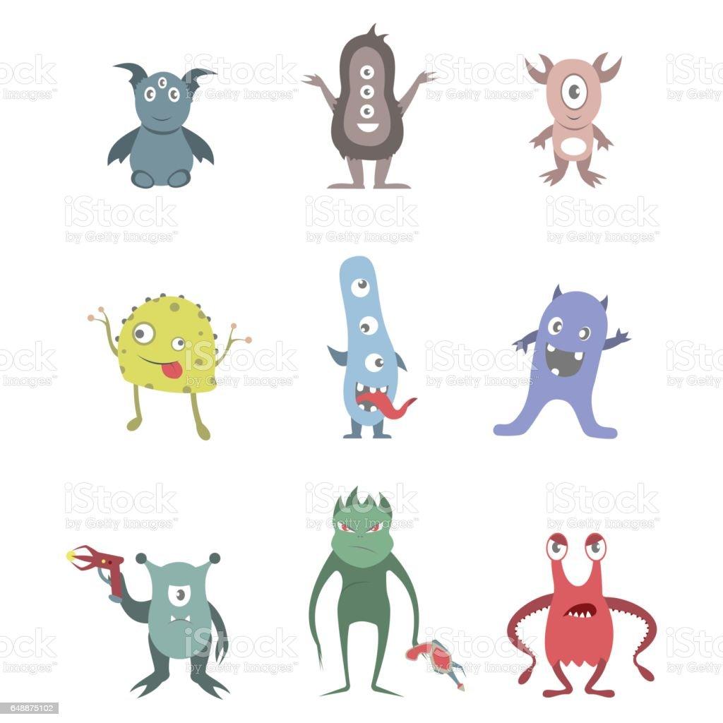 Funny aliens set. vector art illustration