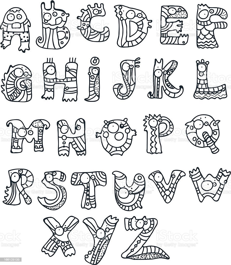 Funny Alphabet royalty-free stock vector art