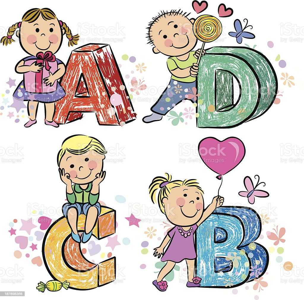 Funny alphabet with kids ABCD royalty-free stock vector art