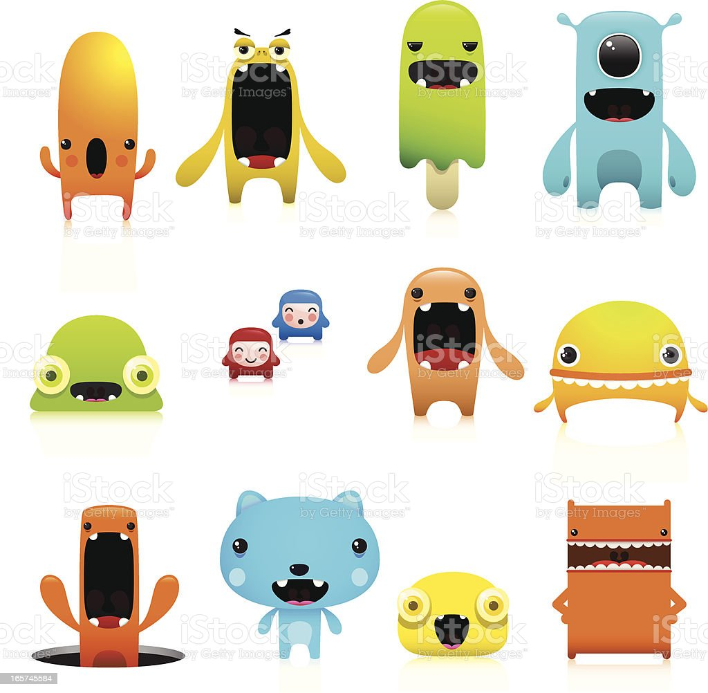 Funny And Cute Vector Character Set vector art illustration