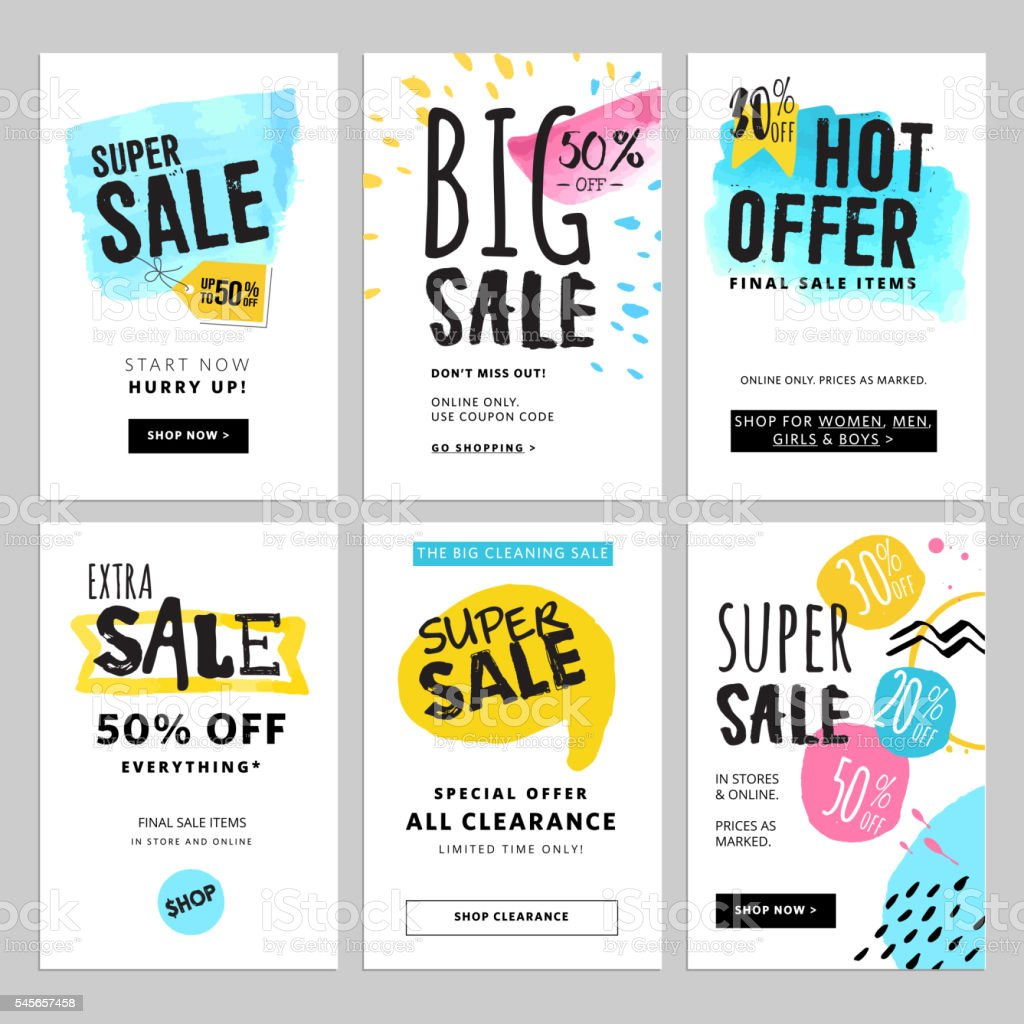Funny and eye catching sale banners collection vector art illustration