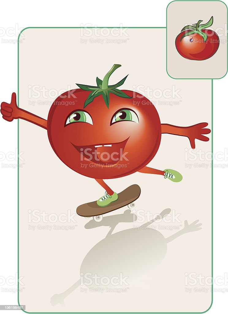 funny and realistic tomato on skateboard vector art illustration