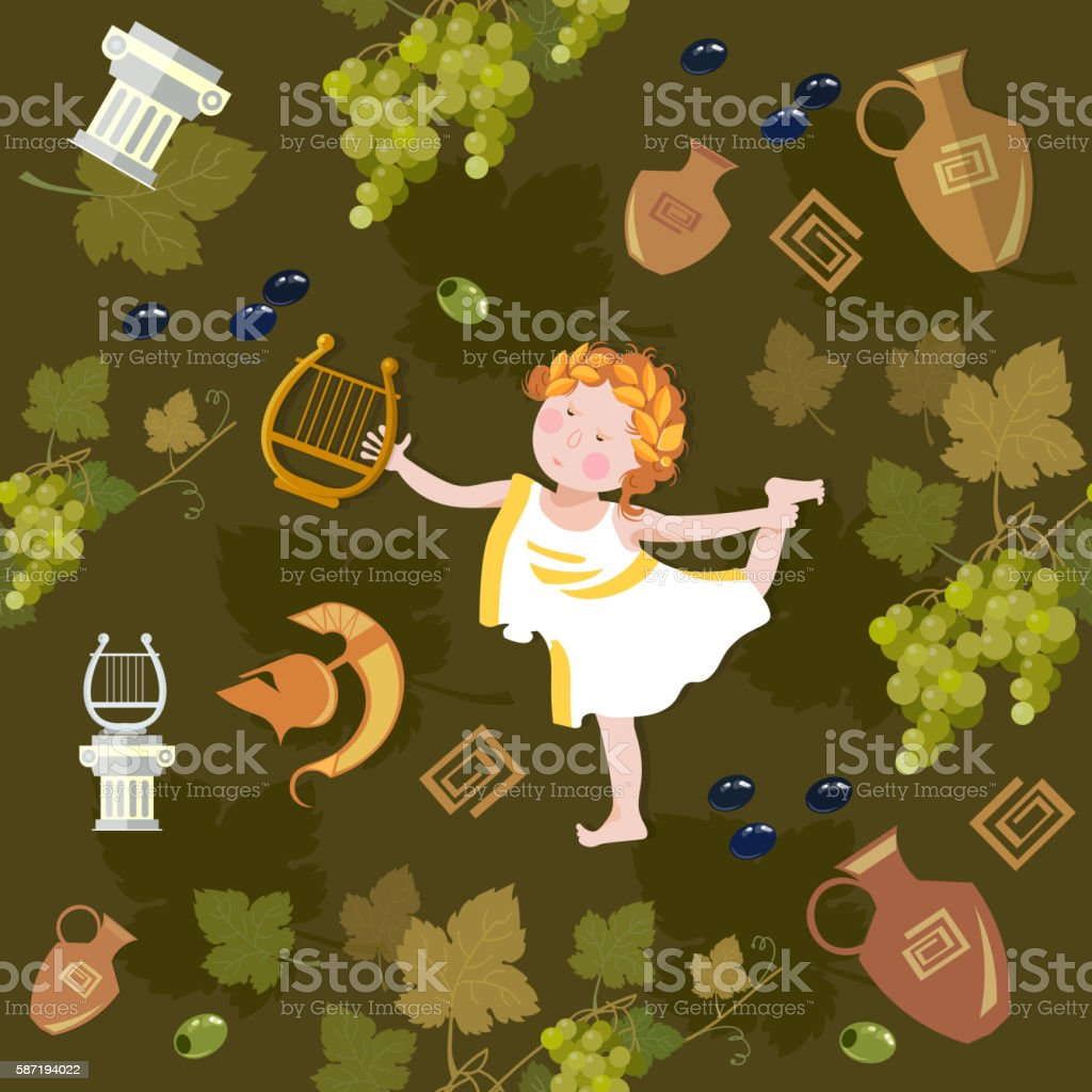 Funny angel with harp seamless pattern vector art illustration
