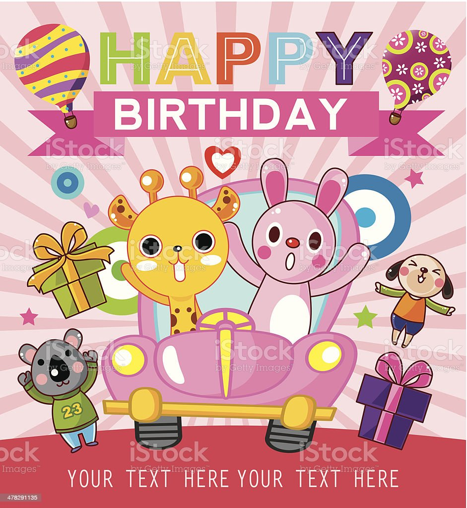 funny animal birthday card royalty-free stock vector art